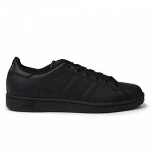Lonsdale Kids Leyton Leather Junior Trainers Boys Lace Up Sport Casual Shoes Black/black Uk 5.5