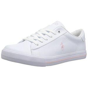 Ralph Lauren Polo Ralph Lauren Girls' Easton Ii Sneaker, White Tumbled Light Pink Pop, 5.5 Big Kid