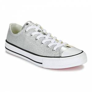 Converse Chuck Taylor All Star Metallic Ox Silver/gold/white Canvas Youth Uk 3