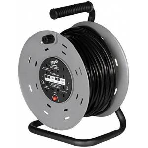 SMJ Electrical CTH5013 Heavy Duty 13A 4G 50 Metre Open Drum Cable Reel with Thermal Cut Out, Black/Grey, Meter
