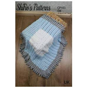 ShiFio's Patterns Crochet Pattern for Baby Blanket, Square Baby Shawl, Baby Shower Gift, Shawl Crochet Pattern, UK Terminology CP103