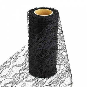 Brussels08 Tulle Lace Roll Spool Floral Lace Roll Netting Fabric Table Runner Chair Sash Bow for Tutu Skirt DIY Wedding Party Bridal Shower Decorations Gift Packing Bow Art Craft Decor Black