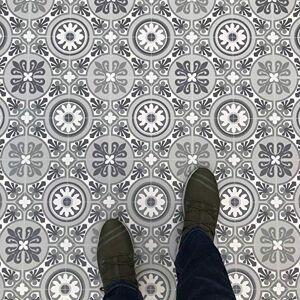 Best4flooring Moroccan Tile Effect Cushion Vinyl Flooring Sheet Green & Grey Kitchen & Bathroom Lino Tangier 08 - Multiple Sizes Available (Sample)