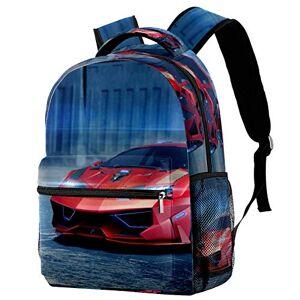 3D Concept Car Travel Laptop Backpack, Casual Durable Backpack Daypacks for Men Women for Work Office College Students Business Travel Schoolbag Bookbag