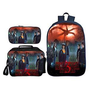 QunWang Children's Backpack 3D Printing Stranger Things Book Bags Set School Bag +Lunch Box+Pencil Case R-OneSize