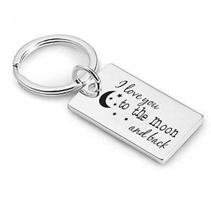 Personalised 'I Love You To The Moon And Back' Design Keyring / Keychain - Engraved - Enter Your Custom Text
