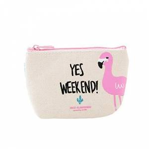 Haodou Women Flamingo Canvas Coin Purse Zipper Multifunctional Mini Coin Pouch Wallet for Credit Card ID Card Keys Headset Lipstick Makeup Comestic Bag (Beige)