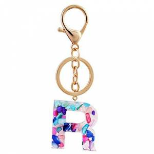 Miwaimao A-Z Initial Letter Keychains Keyrings Acrylic Beautiful Letter Glitter Resin Key Ring Couple Key Chain Bag Charm Love Gift,R