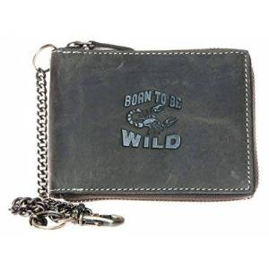 Men's Grey Metal Zip-around Genuine Leather Wallet with Chain to Hang