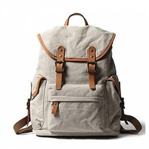 Lanzhen-Ry Durable Men Canvas Leather Backpack Large-Capacity Fashion Multi-Function Leisure Travel Bag Coin Purse (Color : Beige, Size : 19 Inches)