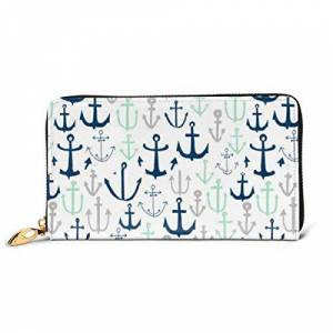 Long Purse Mint and Grey Anchor Wallets for Men Women Long Leather Checkbook Card Holder Purse Zipper Buckle Elegant Clutch Ladies Coin Purse