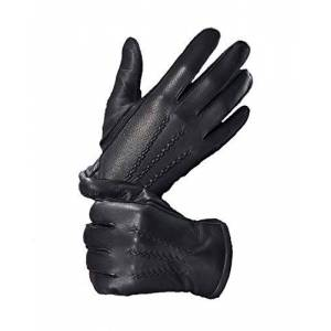 YISEVEN Men Cashmere Lined Deerskin Leather Gents Gloves Hand Sewn Long Cuff Warm for Winter Motorcycle Driving gift, Black XL