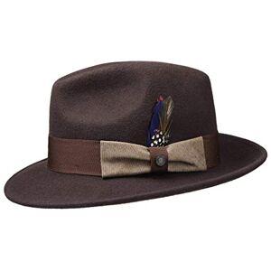 Stetson Virgi Wool Felt Outdoor Hat Men - Fedora Mens with Grosgrain Band Summer-Winter - L (58-59 cm) Dark Brown