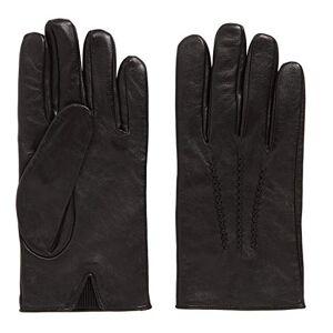 Boss Hugo Men's Leather Gloves with Lining - Hainz3 - Black - Black - 8.5