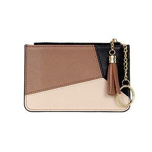 Card Holder Wallet for Women Girls Ultra Slim Coin Purse Thin Credit (Brown/Beige)