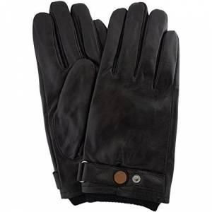"""Snugrugs Mens Premium Soft Leather Glove with Elasticated Wrist, Strap & Stud Feature and Warm Fleece Lining ( Black - Small - 8.5"""" )"""