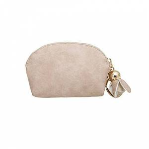 QIUMINGSS Girls Ladies Leather Coin Purse Plain Flower Pendant Mini Purse Clutch Handbag Purse Elegant Cute Small Purse, Beige (Beige) - QIUMINGSS-20200226-CRE-0158BG