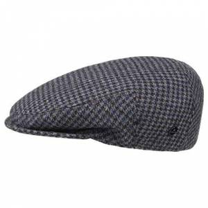 Lierys Britain Houndstooth Flat Cap by Men - Made in Italy hat Ivy Winter with Peak, Lining Summer-Winter - 60 cm Blue