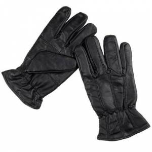 Rjm Men's Black Sheepskin Leather Gloves With Fleece Lining & Elasticated Cuff M/L
