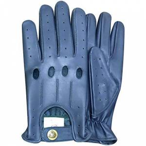 PRiME LEATHER TOP QUALITY REAL SOFT LEATHER MEN'S WITHOUT LINING DRIVING GLOVES RETRO GLOVE IN TEN BEAUTIFUL COLOURS 507 (English Blue, XL)