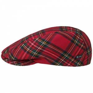 Lierys Lipodo Women's/Men's Scottish Tartan Flat Cap - Flat Cap Made in Italy - Fall/Winter Peaked Cap - Winter Cap with Quilted Fabric Lining - Flat Cap with Checked Pattern - Flatcap red 59 cm
