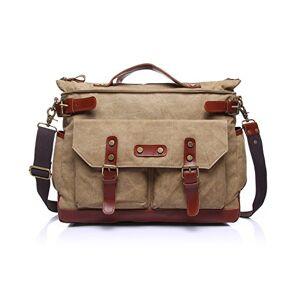 Cjcaijun Vintage Bag Men's Messenger Bag Canvas Leisure Travel Computer Bag Shoulder Portable Multifunction Bag Briefcase Crossbody Bag (Color : Beige, Size : M)