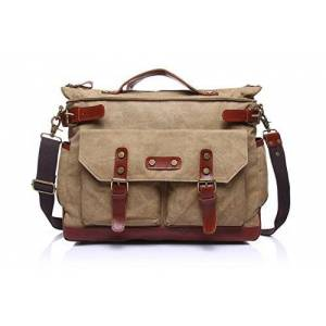 Cjcaijun Vintage Bag Men's Messenger Bag Canvas Leisure Travel Computer Bag Shoulder Portable Multifunction Bag Briefcase Crossbody Bag (Color : Beige, Size : M)