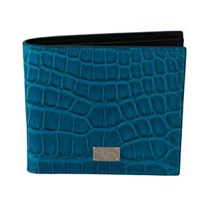 Dolce & Gabbana Blue Mens Card Holder Bifold Logo Exotic Skin Wallet