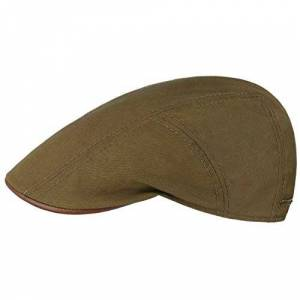 Stetson Waxed Cotton Flat Cap Men - Made in Germany Ivy hat Summer with Peak, Lining, Lining Summer-Winter - 59 cm Olive