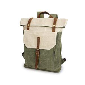 Cjcaijun Vintage Bag Men's Backpack Rucksack Retro Crazy Horseskin Student Travel Bag Waterproof Backpack Crossbody Bag (Color : Beige, Size : M)