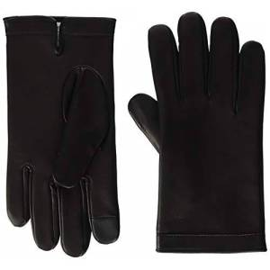 Calvin Klein Men's Deboss Logo Leather Gloves, Black (Black BDS), Medium (Size: M-L)