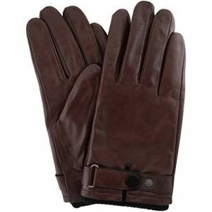 "Snugrugs Mens Premium Soft Leather Glove with Elasticated Wrist, Strap & Stud Feature and Warm Fleece Lining ( Brown - Small - 8.5"" )"
