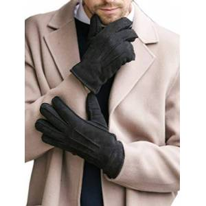 YISEVEN Men Merino Rugged Lambskin Shearling Leather Gloves Sherpa Furry Cuff Thick Wool Lined Heated Warm for Winter Cold Weather Dress Driving gift, Black Small