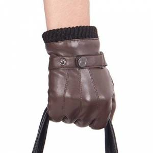 "Nappaglo Men's PU Leather Gloves Touchscreen Warm Driving Gloves with Long Fleece Lining & Cashmere Cuff (XXL (Palm Girth:9.5""-10""), Brown (Non-Touchscreen))"