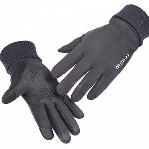 Windstopper Suede Leather Gloves Touch Screen Thermal Fleece Extra Long Wrist Winter Protection for Men (Grey)