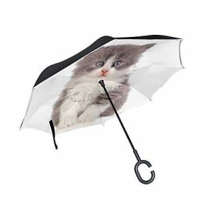 Mnsruu Double Layer Inverted Umbrella, Angora Kitten Anti-UV Waterproof Windproof Reverse Umbrella for Car Rain Outdoor Use