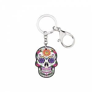 Candy Acrylic Printed Floral Candy Sugar Skull Keychain Keyring with Vibrant Multi-Colour Detail & Silver Finish