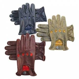 PRiME LEATHER TOP QUALITY REAL SOFT LEATHER MEN'S WITHOUT LINING DRIVING GLOVES RETRO GLOVE IN TEN BEAUTIFUL COLOURS 507 (507-Crunch-Yellow, L)