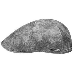 Stetson Texas Mens Leather Driver Cap - Gatsby-Style Flat Cap - Lined Cap - Summer/Winter Leather Cap - Flat Cap Grey M (56-57 cm)