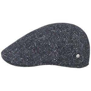 Lierys Raul Melange Herringbone Flat Cap by Men - Made in Italy Ivy hat Wool Winter with Peak, Lining, Lining Autumn-Winter - 58 cm Navy-Mottled