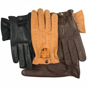 PRiME REAL SOFT LEATHER MEN'S DRIVING GLOVES 7011 (Brown, SMALL)