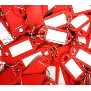 Thingbling Ltd Plastic Key Tags with Key Ring 2.2cm x 5cm - Red - Pack of 10