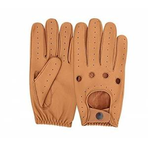 Mens Classic Driving Gloves Vintage Button Style Soft Lambskin Leather Dress Fashion (Large, Tan - 505)