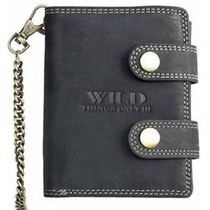 Wild Men's Very Dark Gray Biker's Wallet with 50 cm Long Chain to Hang