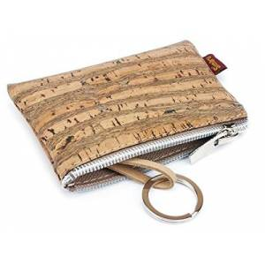 SIMARU Vegan Coin Pouch Keyring, Slim Zip Key Pouch with Card Holder Compartment (Beige Raizes)