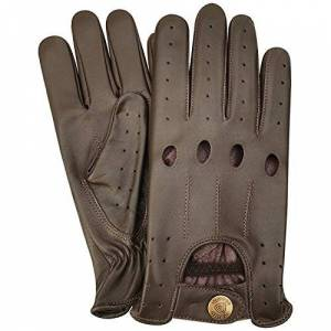 PRiME LEATHER TOP QUALITY REAL SOFT LEATHER MENS WITHOUT LINNING DRIVING GLOVES RETRO GLOVE IN TEN BEAUTIFUL COLOURS (M, BROWN)