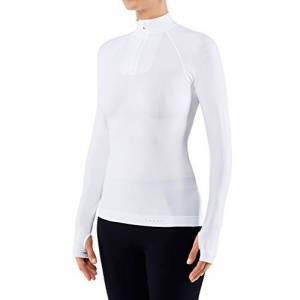 Falke Ess FALKE Women's Warm Tight Fit Zip W L/S SH Base Layer Top, White (White 2860), M-Medium