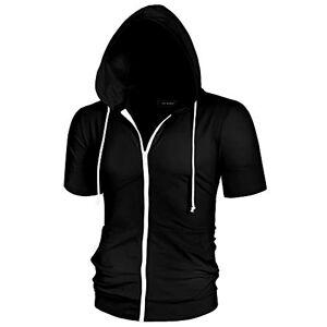 Lars Amadeus Men's Halloween Hoodies Solid Color Zip Up Short Sleeve Jackets with Hood Black 38