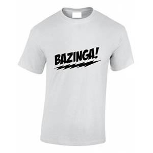 Crown Designs Bazinga Comedy TV Show Inspired for Men & Teenagers T-Shirts Tops - White/Medium