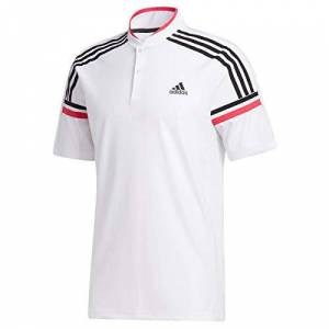 adidas Golf Mens Sport Style SS Polo Shirt - White/Power Pink - M